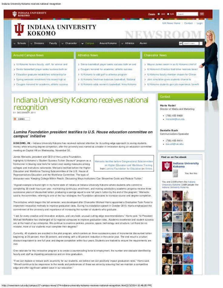 Indiana university kokomo receives national recognition