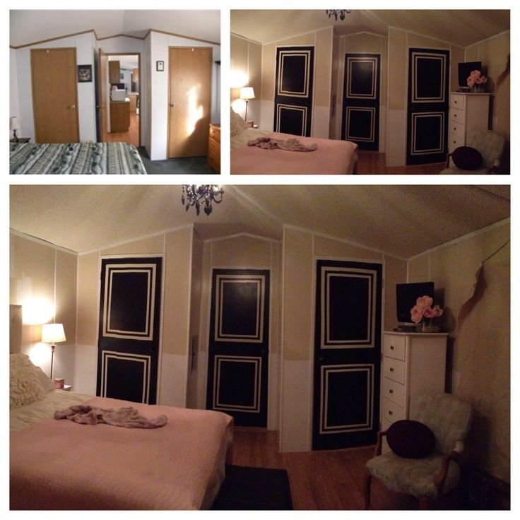 Before and after: single wide manufactured mobile home trailer remodel makeover. Master bedroom. Wall color is Elmira White by Benjamin Moore.