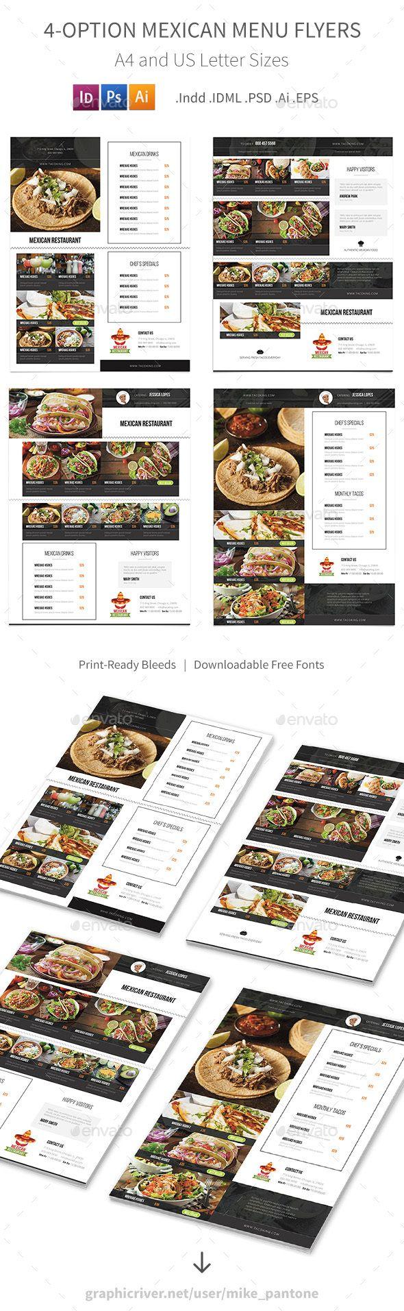 Mexican Restaurant Menu Flyers – 4 Options - Food Menus Print Templates Download here : https://graphicriver.net/item/mexican-restaurant-menu-flyers-4-options/19182517?s_rank=96&ref=Al-fatih