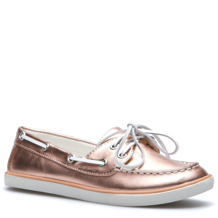 """""""Snicker"""" Metallic Rose Gold color, faux-leather boat shoe with faux-leather details. Lightly padded canvas insole and treaded outsole. So comfy and go with everything!"""