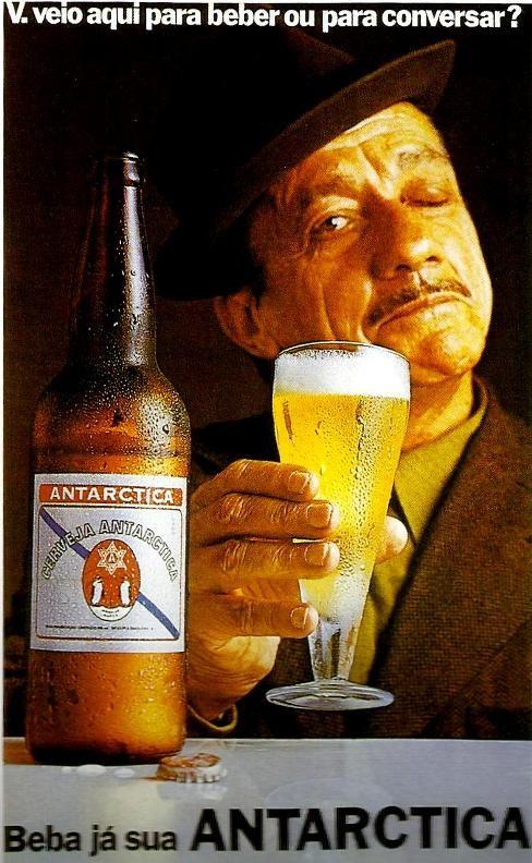 """Adoniran Barbosa na campanha da cerveja Antarctica em 1972: """"Você veio aqui pra beber ou para conversar?"""""""
