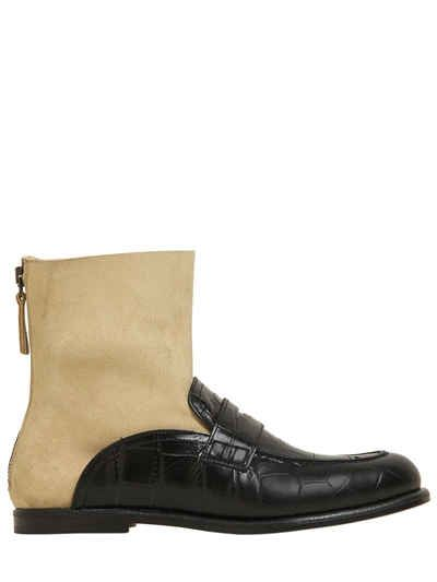 LOEWE - 10MM LEATHER LOAFER SOCK BOOTS - BOOTS - BEIGE/BLACK - LUISAVIAROMA