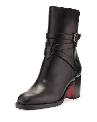 Karistrap Leather 70mm Red Sole Ankle Boot, Black by Christian Louboutin at Neiman Marcus.
