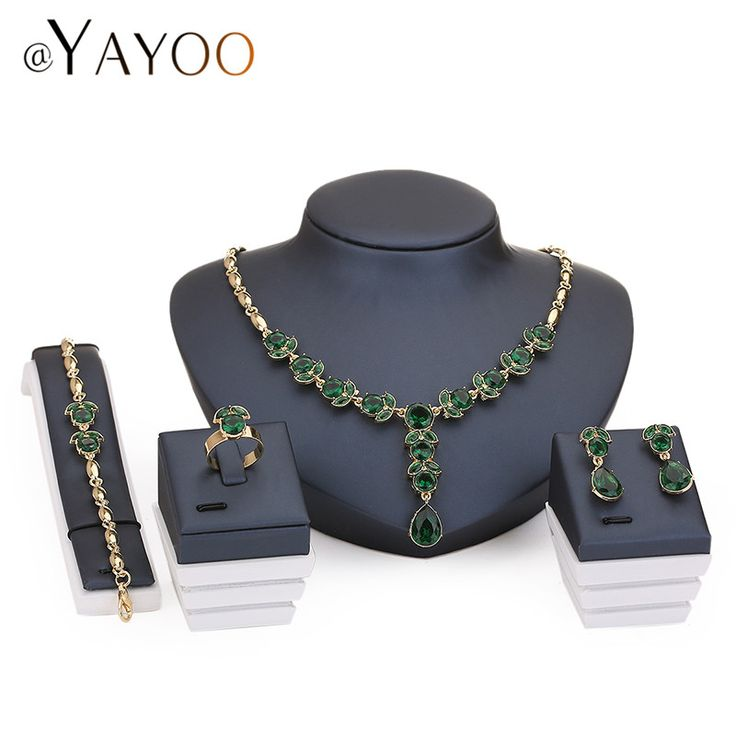 AYAYOO Necklace Earrings Bracelet Rings Jewelry Sets Women African Beads Imitation Crystal Pendant Wedding Accessories