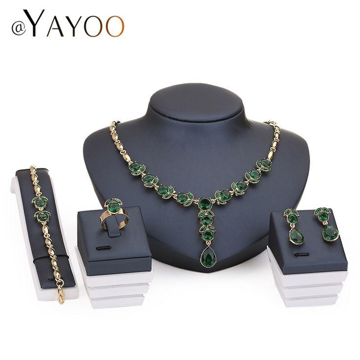 Ayayoo zestawy naszyjnik kolczyki bransoletka biżuteria pierścionki kobiety afrykańskie koraliki imitacja kryształ wisiorek akcesoria ślubne