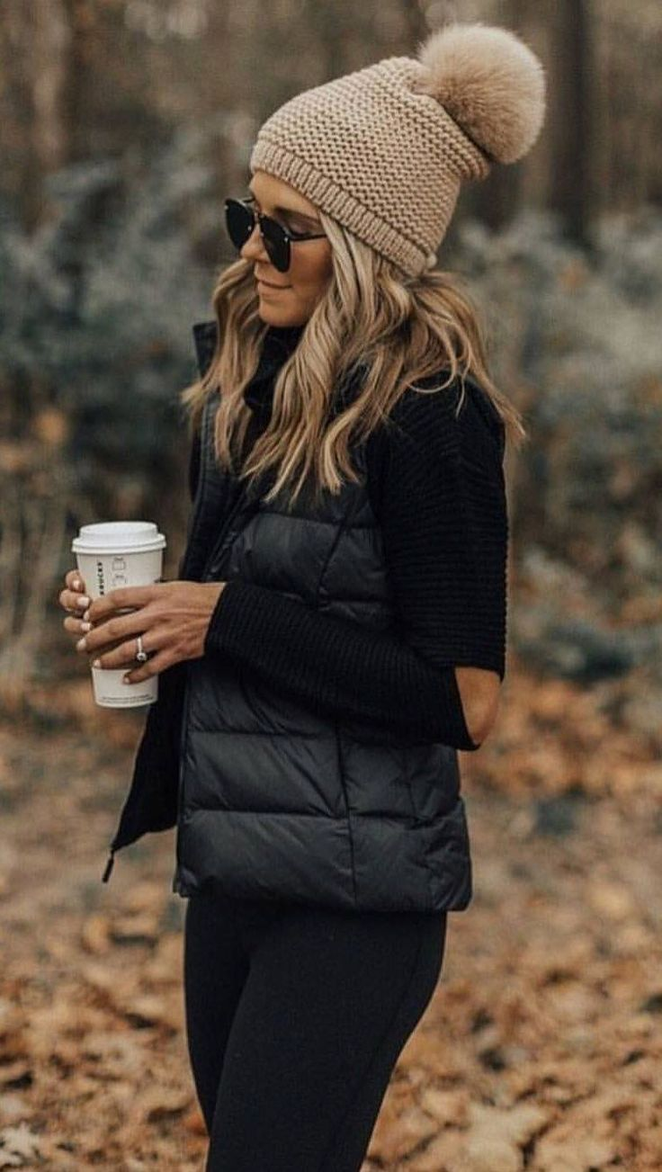 #winter #outfits black bubble jacket
