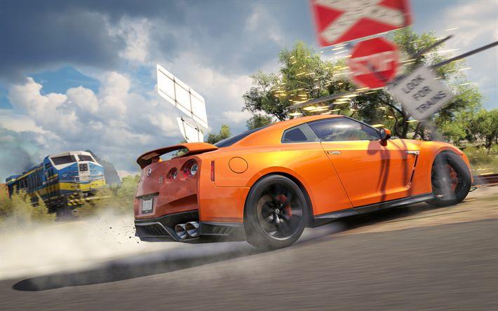 Descargar fondos de pantalla Forza Horizon 3, 4 kb de 2017, los juegos, el Nissan GT-R R35, supercars, la deriva, el simulador de carreras