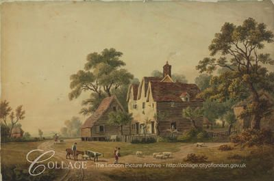 View of a farm house at Chingford in the London borough of Waltham Forest; Chingford was formerly in Essex.    1815