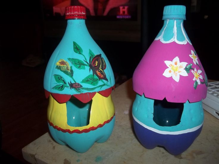 My 2 liter bottle bird feeders :) hand painted and coated with spray on mod podge and they have now lasted through 2 winters looking just as good.  ( I really expected to have yo reprint every spring but they are holding up nicely.