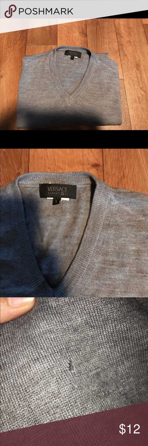 Men's Versace Sweater large Small hole by front Sweaters V-Neck