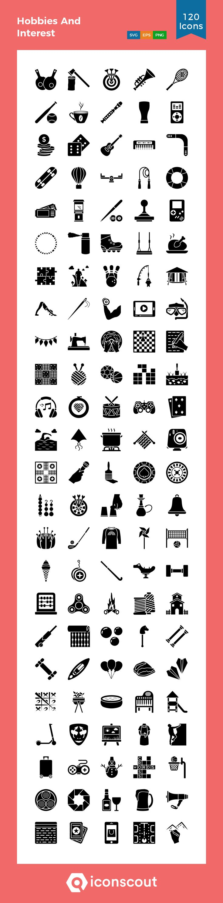 Download Hobbies And Interest Icon pack Available in SVG