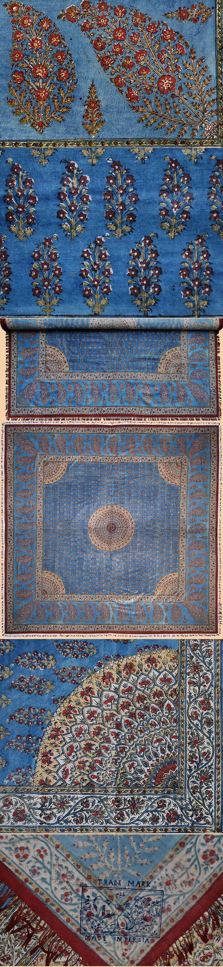 Persian Block Print with Gold Moom Shawl Early 19th Century  Qajar Dynasty 1795 - 1925 A.D