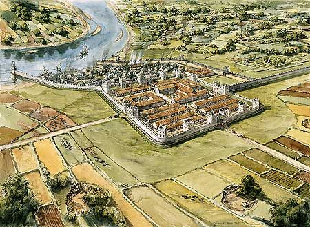 Reconstruction drawing of the Roman fort at Wallsend (Segedunum). This fort on the River Tyne marked the eastern end of Hadrian's Wall.