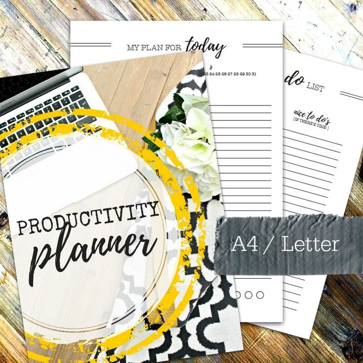 PRODUCTIVITY PLANNER - Printable A4 & Letter planner - incl. 25 printable pages - Mon and Sun start dates and undated - Instant Download by OrganiseMyHouse on Etsy