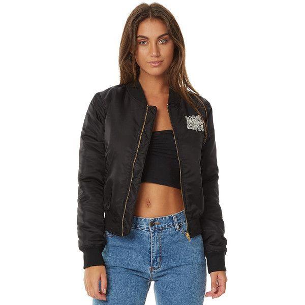 Santa Cruz Roses Womens Bomber Jacket Black (€99) ❤ liked on Polyvore featuring outerwear, jackets, black, bomber jackets, women, blouson jacket, nylon jacket, nylon bomber jacket, bomber jacket and bomber style jacket