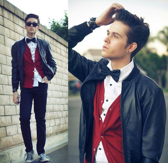 mauricinho.: Cardigans, Boys Fashion, Bows Ties, Men Style, Men Fashion, Men'S Fashion, Bowties, Leather Jackets, Swag Outfits