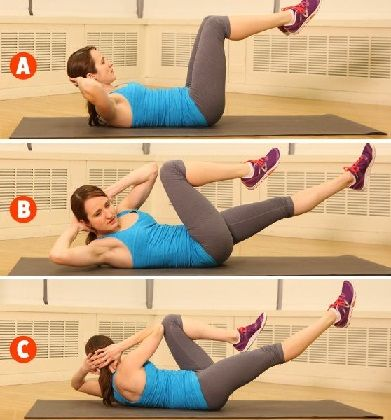 5. Vertical Leg Crunches: How to do:  Lie on your back with ankles crossed and extend your legs upwards try to touch your