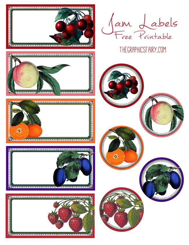 Free Printable Jam & Jelly Labels by Emily for The Graphics Fairy