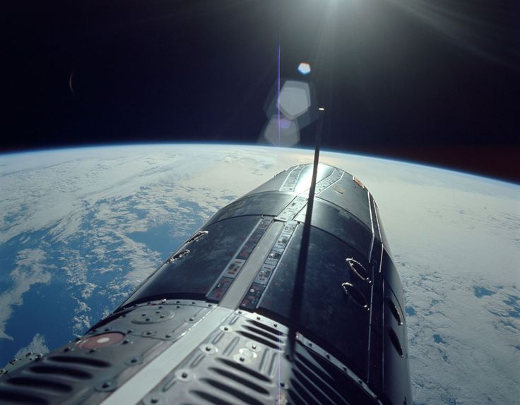 On June 5, 1966, Gemini 9A Commander Eugene Cernan spent more than 2 hours on a spacewalk, taking this photo while standing in the open hatch over the Pacific Ocean. (NASA/JSC/ASU