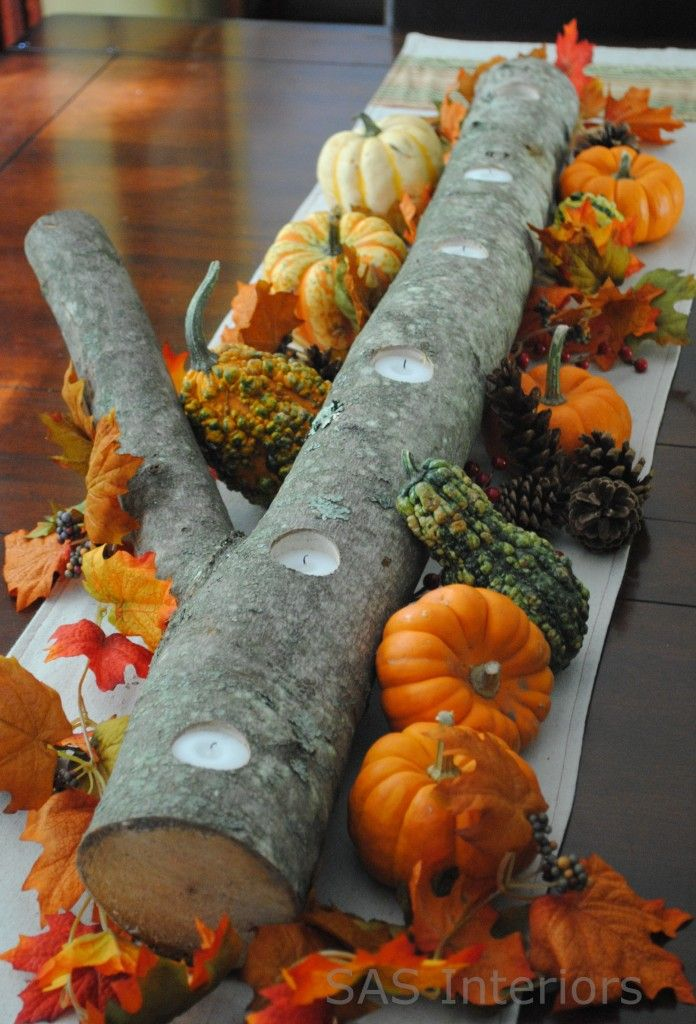 easy autumn center piece - drill holes in a log add candles and small gourds. Love it!: Thanksgiving Centerpiece, Autumn Centerpiece, Fall Decor, Logs Centerpiece, Candles Holders, Teas Lights, Thanksgiving Table, Centerpieces, Center Pieces