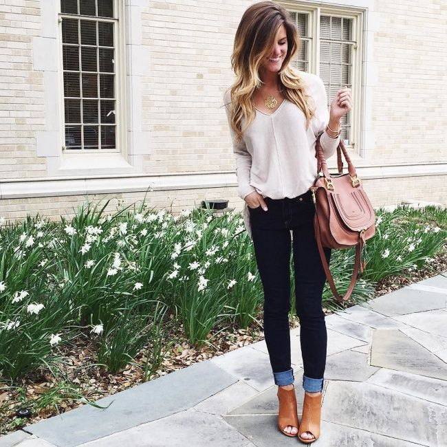Try with Vince Navy Sweater, Peep Toe Booties and Jeans