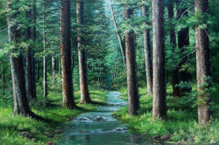 Hutan Pinus, 2014 Acrylik on Canvas 100×150 cm By: Jaka Espe