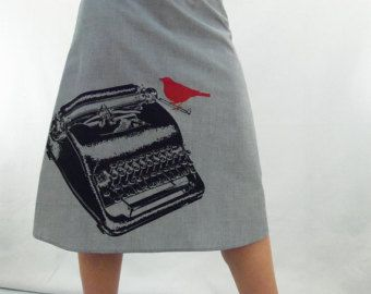 Business Casual Bird Skirt Aline Cotton Skirt by AngiesSweatshop