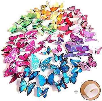 Ideal Goodlucky PCS D Schmetterlinge Wanddeko Aufkleber Abziehbilder st Blau st Lila st Gr n st
