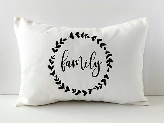 Neutral Pillow Cover  Family Gift Pillow  Farmhouse Style