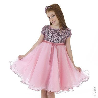 Lesy - Sequined party dress with frothy light pink tulle - 100372