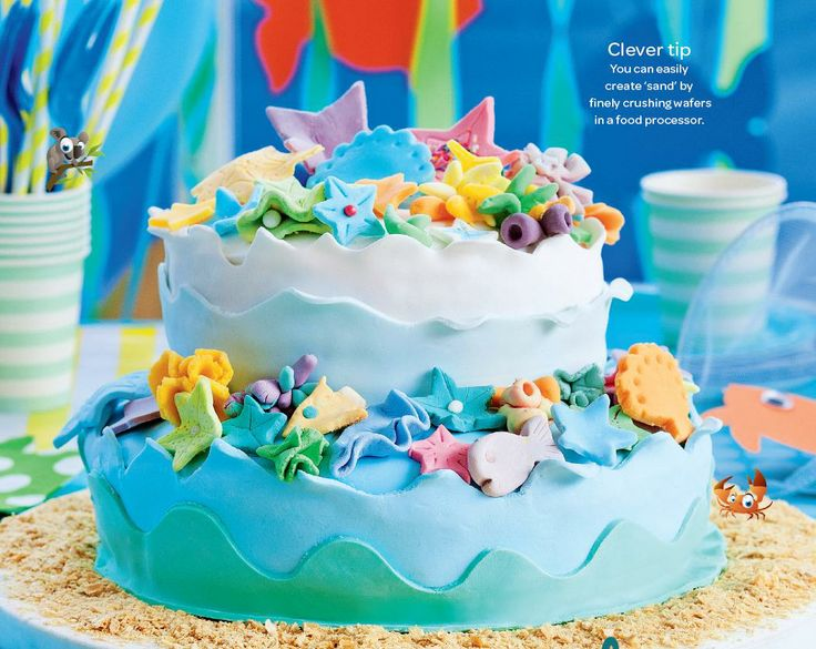 Coral reef cake. A detailed underwater cake that will be sure to get all the kids in the mood for an underwater party! #Woolworths #cake #party #recipe http://www.woolworths.com.au/wps/wcm/connect/Website/Woolworths/FreshFoodIdeas/Recipes/Recipes-Content/coralreefcake?utm_source=pinterest&utm_medium=social&utm_campaign=Christmas