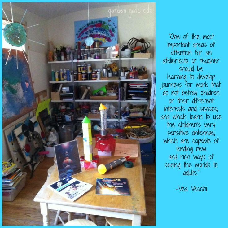 """The space is truly a """"studio for learning"""", a laboratory of sorts. The children use the studio as a place to conduct research and experiments, and to create and construct ideas, theories and knowledge. Using the languages of clay, paint, music, dance, pen, ink, wood, wire, natural materials and found objects, children are able to think more deeply, work out answers, and express their understanding."""