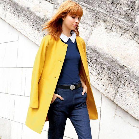 Manteau jaune sans col chic et coloré >> http://ptilien.fr/llNx #outfit #look