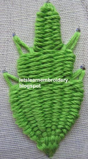 Let's learn embroidery: Kamal kadai leaf