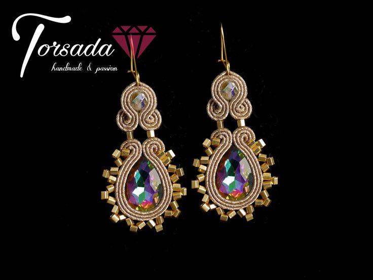 TORSADA - złote eleganckie kolczyki sutasz błyszczące/ long damgle soutache earrings gold