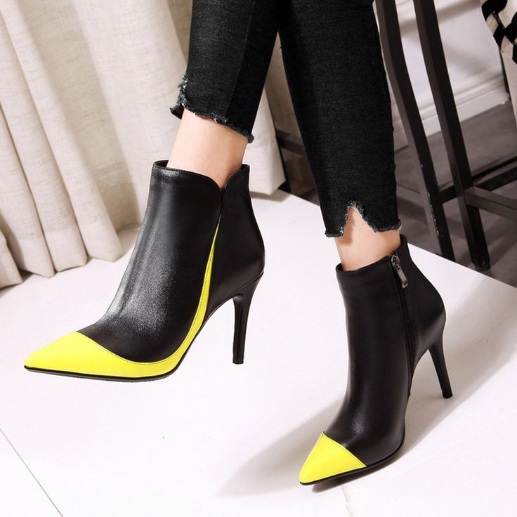 Material:Leather|Heel Height:9cm|Pattern:Color Block