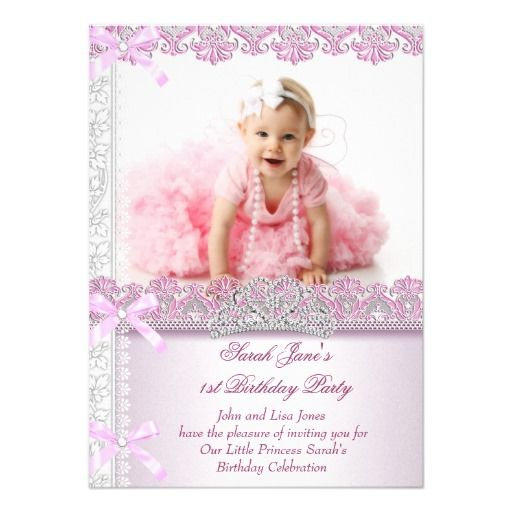 The 316 best girls birthday party invitations images on pinterest first 1st birthday party girls princess pink photo card stopboris Choice Image