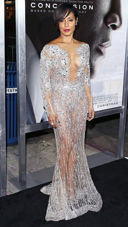 Jada Pinkett Smith in a sheer silver Zuhair Murad dress