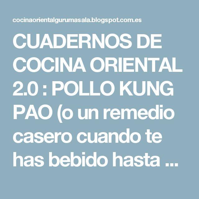 CUADERNOS DE COCINA ORIENTAL 2.0 : POLLO KUNG PAO (o un remedio casero cuando te has bebido hasta el agua de los floreros...)