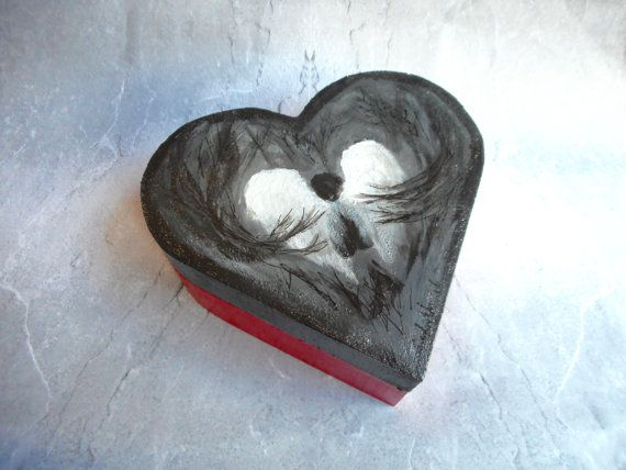 In red and gray hand-painted wooden by JHFWBeadsAndFindings