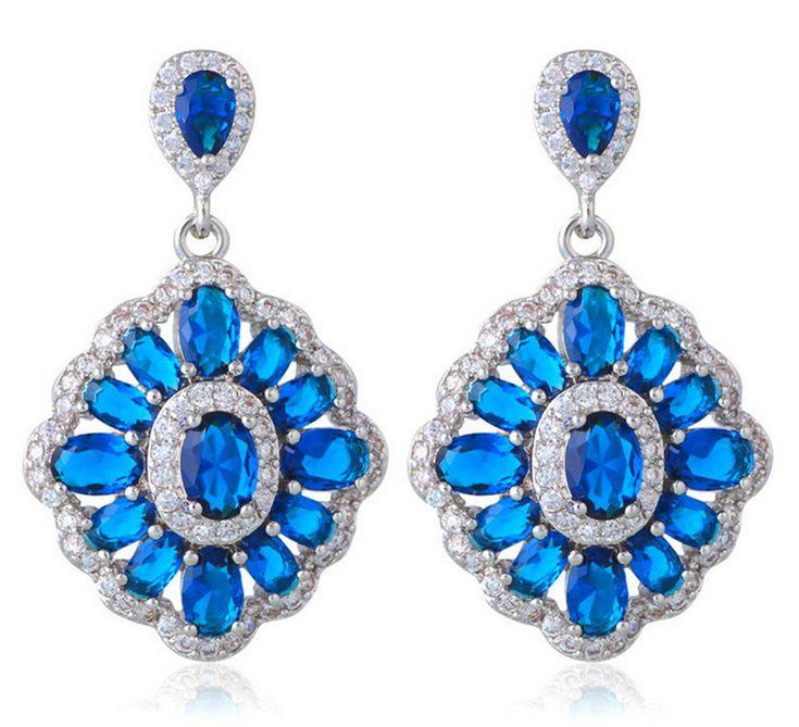 Montana Blue Zircon ( 925 Silber Ohringe )