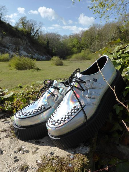 Fabulous iridescent holographic creepers by TUK. Find out more at http://wightcatwalk.co.uk/the-future-is-now/