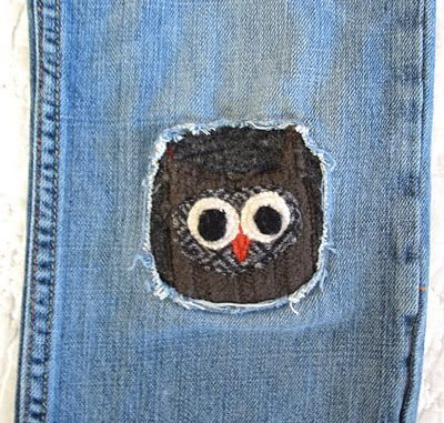 owl patch made from old sweater