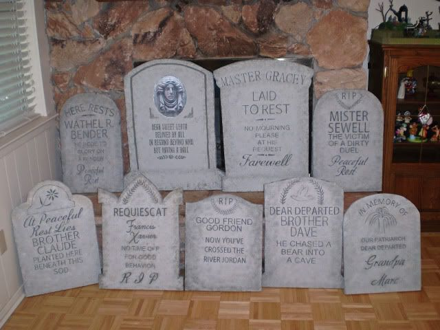 Prop Showcase: Madame Leota's finished tombstones for 2010! Halloween Forum member