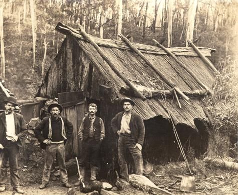 Slab hut and miners, Walhalla, Victoria, 1905-1920 Museum Victoria, Australia