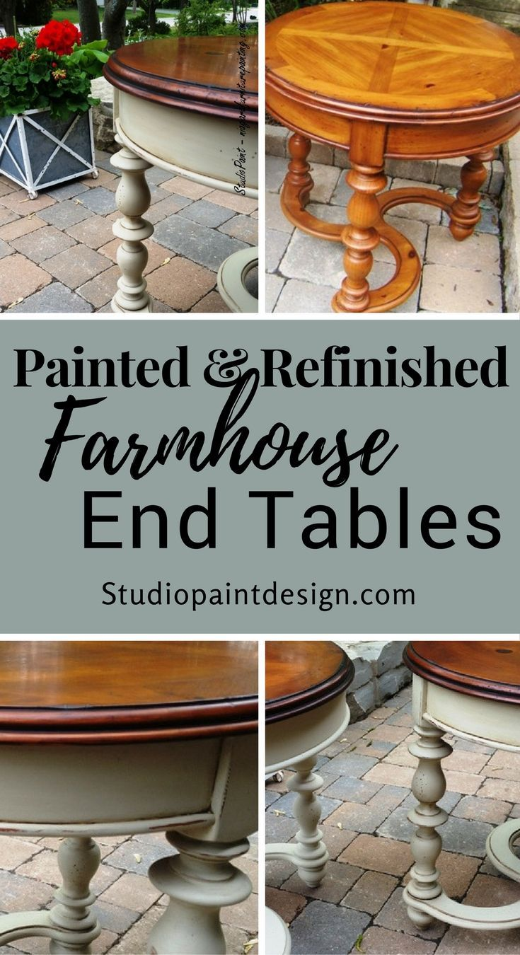 Painted and Refinished Farmhouse End Tables Annie Sloan Chalk Paint Country Gray Distressed Dark Wax #paintedfurniture #paintedendtables #distressed #chalkpaint #anniesloan #farmhouse