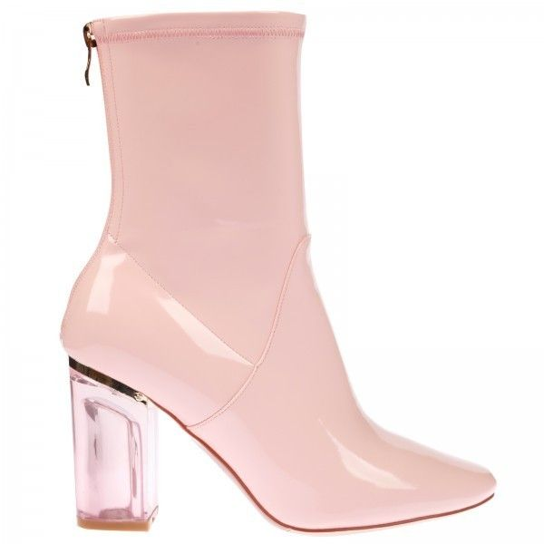 Chloe Ankle Boots In Pink Patent With Pink Heel (71 AUD) ❤ liked on Polyvore featuring shoes, boots, ankle booties, short boots, zip ankle boots, zipper boots, pink ankle boots and pointed booties