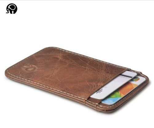 100pcs 100% Real Leather Convenient ID Pocket Bank Credit Card Case Thin Card Wa…