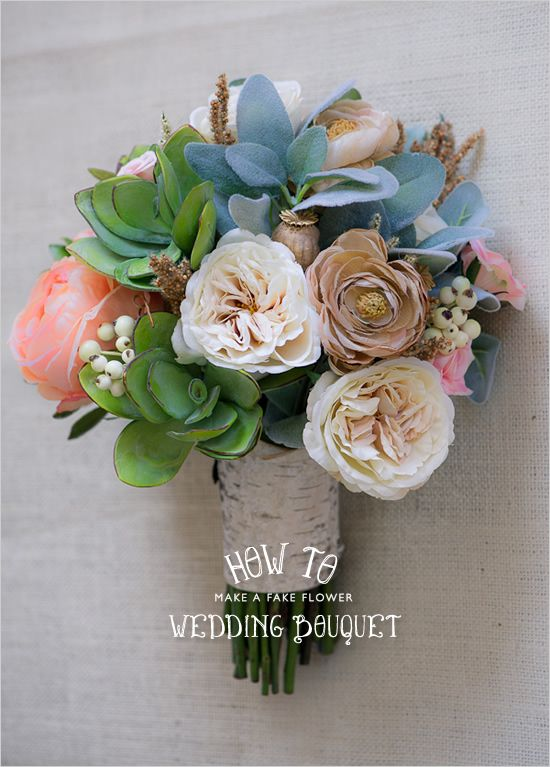 fake wedding flower bouquet. this could be a fun project for your rehearsal dinner. (: http://www.weddingchicks.com/2012/09/17/how-to-make-a-fake-flower-bridal-bouquet/