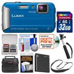 Low Cost Panasonic Lumix DMC-TS30 Tough Shock & Waterproof Digital Camera (Blue) with 32GB Card  Case  Battery  Selfie Stick Monopod  Sling Strap Kit Sale